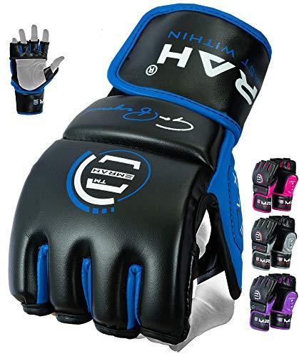 EMRAH Robustes Fell Leder MMA Gloves Grappling MMA Handschuhe Cage Fighting Sparring Glove Training F7W (Blau, Groß)