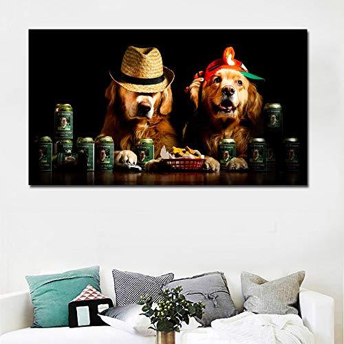 ganlanshu HD niedlichen Hund mit Hut Tier Leinwand Hintergrund Wandmalerei Moderne Wohnkultur Schlafzimmer rahmenlose Malerei 60cmX105cm