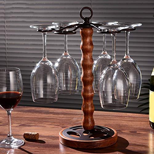 Jimfoty Freistehende Tabletop Stemware Storage Rack Holz Weinglas Getränkehalter mit 6 Haken Gläser Display Rack Stand