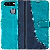 Mulbess Handyhülle für Huawei P9 Hülle, Huawei P9 Hülle Leder, Etui Flip Handytasche Schutzhülle für Huawei P9 Hülle, Mint Blau