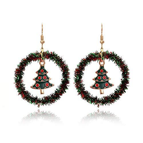 Pendientes Colgantes,Pendientes De Navidad Estilo De Navidad Gancho De Oreja Dorado Forma De Corona Tejido A Mano Círculo Punto Rojo Árbol De Navidad Cuelga El Anillo Pendiente Pendientes para Muj