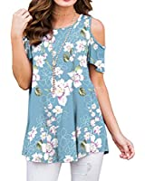 PrinStory Women's Short Sleeve Casual Cold Shoulder Tunic Tops Loose Blouse Shirts Floral Print Light Blue S