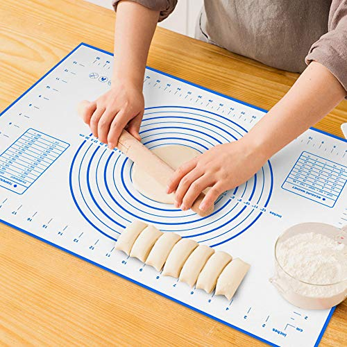 Large Silicone Pastry Mat Extra Thick Non Stick Baking Mat with Measurement Fondant Mat, Counter Mat, Dough Rolling Mat, Oven Liner, Pie Crust Mat (XL-20''(W)28''(L), Blue)