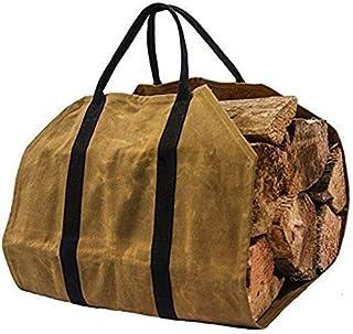 كاكي حطب الحطب سجل الناقل حقيبة الخشب الناقل للموقد 16 أوقية قماش مشمع