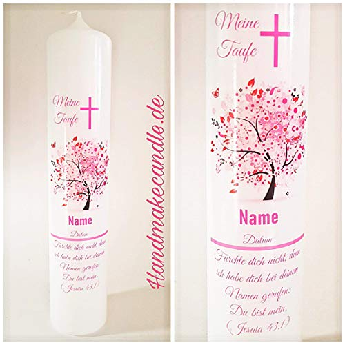 Taufkerze für Mädchen, mit Lebensbaum, beschriftet mit Name, Datum und Taufspruch, Kommunionkerze