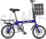 TTZY Bicicleta Plegable de 14' 16' 20' V Freno Individual Urban Speed Commuter Bicicletas for Retro Ocio 6-20,20 Pulgadas SHIYUE