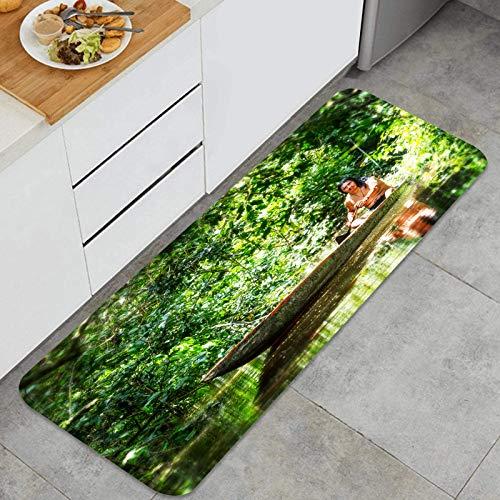 RLYIXU Alfombra de Cocina Antideslizante,Pueblo amazónico Selva Ecuador Brasil Tribu,Estera de Cocina Felpudos Decorativo Alfombra para Dormitorio Baño Pasillo 45 x 120cm