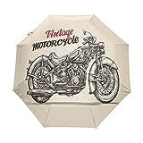 SUHETI Paraguas automático de Apertura/Cierre,Bicicleta Estilo Chopper Dibujada a Mano con Detalles de bocetos Spirit of The Rider Gratis,Paraguas pequeño Plegable a Prueba de Viento
