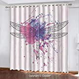 CoSept Blackout Curtains,Grunge Street Art Watercolor Moth Bug in Rainbow Tones Artwork,for Bedroom (2 Panels,51.96x84.64 Inch),Black White and Purple