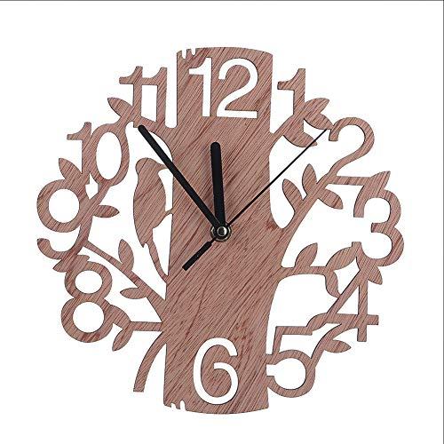 Reloj Pared Madera Vintage, Reloj Pared Madera Recorte 23 Cm/9 Pulgadas, Movimiento Silencioso, Reloj Creativo Patrón Pájaro Carpintero, Reloj Pared para Cocina, Decoración La Sala Estar