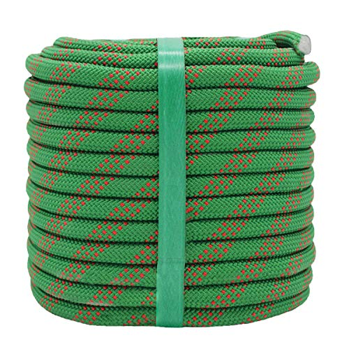 YUZENET Static Rock Climbing Rope 2/5 Inch 100 Feet Outdoor Safety Fire Escape Rope Rappelling Rope,Green/Red