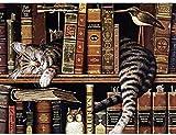 PEIYUH Holzpuzzle Lernspielzeug 1000 Stück Holzpuzzle Katze Und Bücherregal Für Jugendliche Und Erwachsene Sehr Gutes Lernspiel Einzigartiges Geschenk