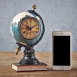 Dirgee Muebles creativos, Sala de Estar, Cafetería, Bar, Decoración, Bodega, Nostalgia Gramófono, Estilo Retro Americano, Teléfono de Café Dorado (Color : Blue Clock Earth)