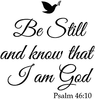 Newclew Be Still and Know That I am God Psalm 46:10 Wall Art Sayings Vinyl Sticker Décor Decal Prayer Church Jesus Pray