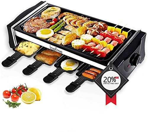 Electric Griddle Grill LOEFME Smokeless Indoor Grill and Outdoor Electric Grills, Portable 2 in 1...