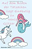 Glitzer Einhorn Kalender 2021: Taschenkalender A5 | Terminkalender 2021 | Jahresplaner | Wochenplaner | modisch & schlicht | Organizer
