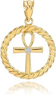 14k Yellow Gold Roped Circle Egyptian Ankh Cross with Diamond Pendant