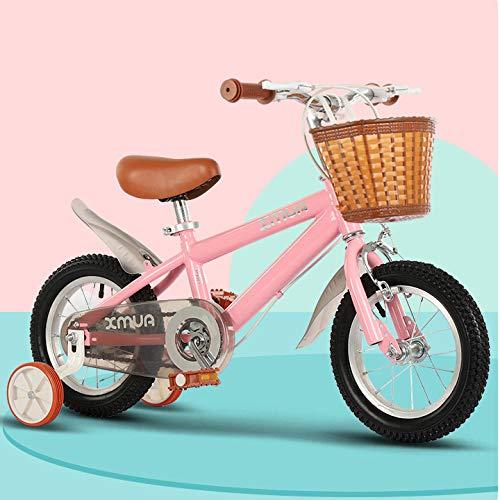 Mfnyp Bicicletas para niños de 2-12 años de Edad, Marco de Acero al Carbono de Bicicletas, 3 Colores, 12', 14', 16', 18' con estabilizadores, Cesta de Bicicletas,Rosado,16inch