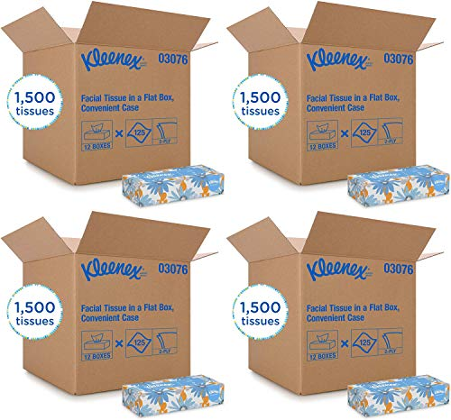 Kleenex Professional Facial Tissue for Business (03076), Flat Tissue Boxes, 12 Boxes/Convenience Case, 125 Tissues/Box Pack of 4