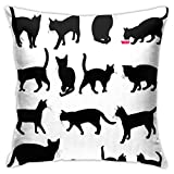 GULTMEE Decorative Printing Pillow case,Black Cat Silhouettes in Different Poses Domestic Pets Kitty Paws Tail and Whiskers,Square Cushion Covers for Home Sofa Couch 18x18 Inch