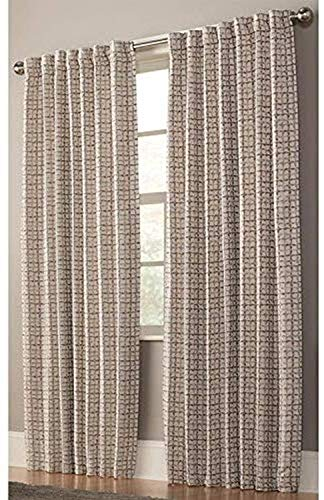 allen + roth Nelliston 84-in Taupe Polyester Light Filtering Standard Lined Single Curtain Panel