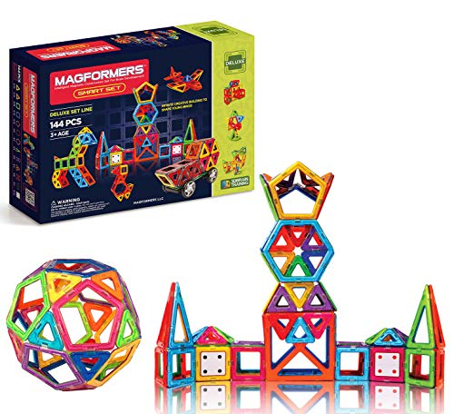Magformers Smart Set (144-piece ), Deluxe Building Set. Magnetic Building Blocks, Educational Magnetic Tiles, Magnetic Building STEM Toy Set,Assorted