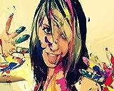 TYLPP Pintura por números para adultos niños pintura de color niña lino lienzo DIY pintura digital por números kits niños juguete regalos pintado a mano decoración 16 × 50 pulgadas sin marco