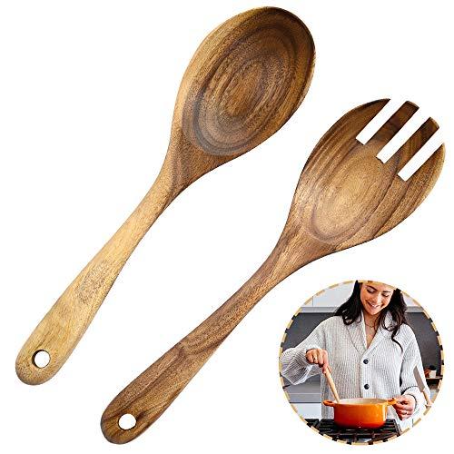 2 Pezzi Cucchiaio in Legno Forchetta, Legno Posate per Insalata, Cucchiaio Insalata in Legno, Naturale Legno Acacia Portatile Fatto a Mano Cucchiai Forchetta per Insalate, Utensili Cucina