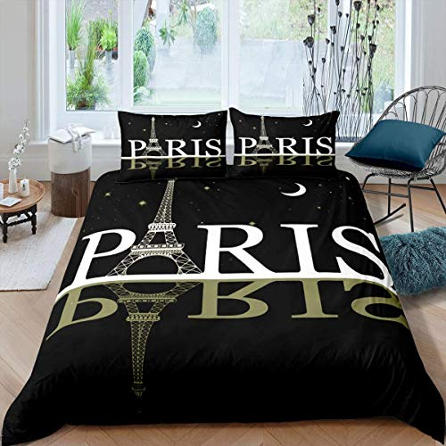 Tbrand Eiffel Tower Bedding Set Chic Paris Theme Duvet Cover for Kids Children Teens Paris Cityscape Print Comforter Cover Modern French Style Bedspread Cover Star Moon Bedroom Decor 3Pcs King Size