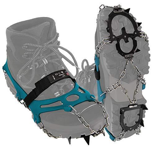 ALPIDEX Grödel Steigeisen für Bergschuhe Schuhkrallen mit Edelstahlspikes 12 Zähne Schuhgröße 35-47 Crampons Klettern Bergsteigen Trekkking Winter Outdoor Schuhspikes, Größe:M, Farbe:Blue