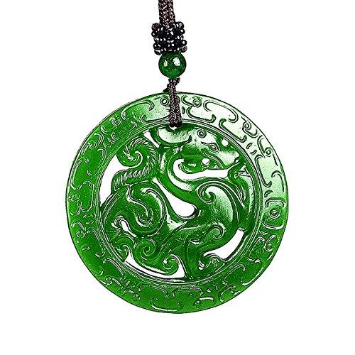 yigedan Natur grün Jade Anhänger Medaille Dragon Hohl Carving Amulett