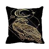 N\A Throw Pillow Cover Gold Detallado Bird of Prey Magic Pagan Adult Alchemy Funda de Almohada Decorativa para el hogar Funda de Almohada Cuadrada Funda de cojín