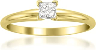 14k Yellow Gold Princess-Cut Solitaire Diamond Engagement Wedding Ring (1/4 cttw, I-J, I2)