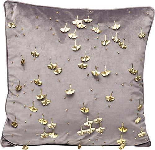 Kare Design Kissen Ginkgo Grau 45x45cm, quadratisches Kissen mit goldenen Ginkgo Blättern, glamouröses Dekokissen in Grau Gold,  (H/B/T) 45x45x8cm