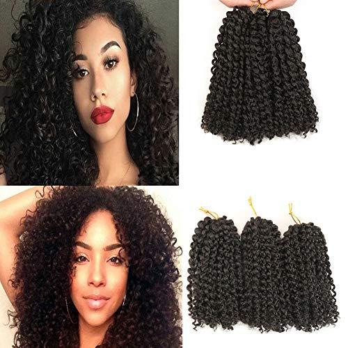 6 extension crochet corte di capelli sintetici, capelli ricci ondulati, stile Marlybob, 20 cm