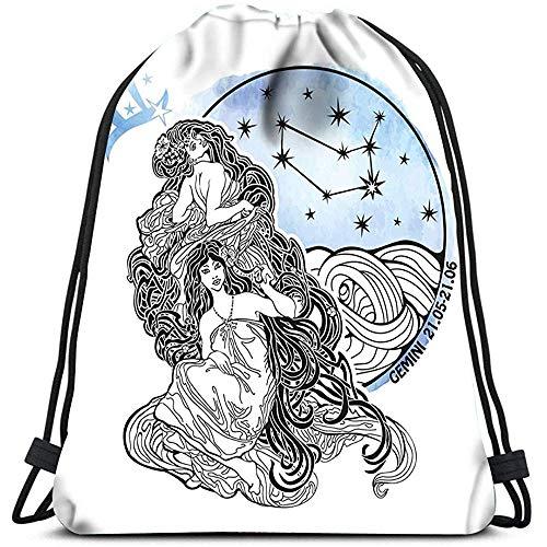 Dingjiakemao Sportbeutel Tunnelzug Rucksack Zwilling Sternzeichen Horoskop Sternbild Sterne Im Kreis Yoga Läufer Daypack Schuhbeutel