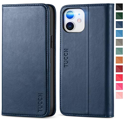 TUCCH Case for iPhone 12 Pro/iPhone 12 5G, PU Leather Folio Case Wallet with [Kickstand] [Card Slot] Cover [Protective TPU Interior Case] Compatible with iPhone 12 /iPhone 12 Pro 6.1-inch, Dark Blue