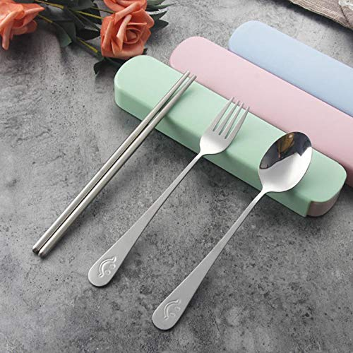 Silverware Set, E-far Stainless Steel Flatware Set Service for 12, Tableware Cutlery Set for Home Restaurant Party (Pink)