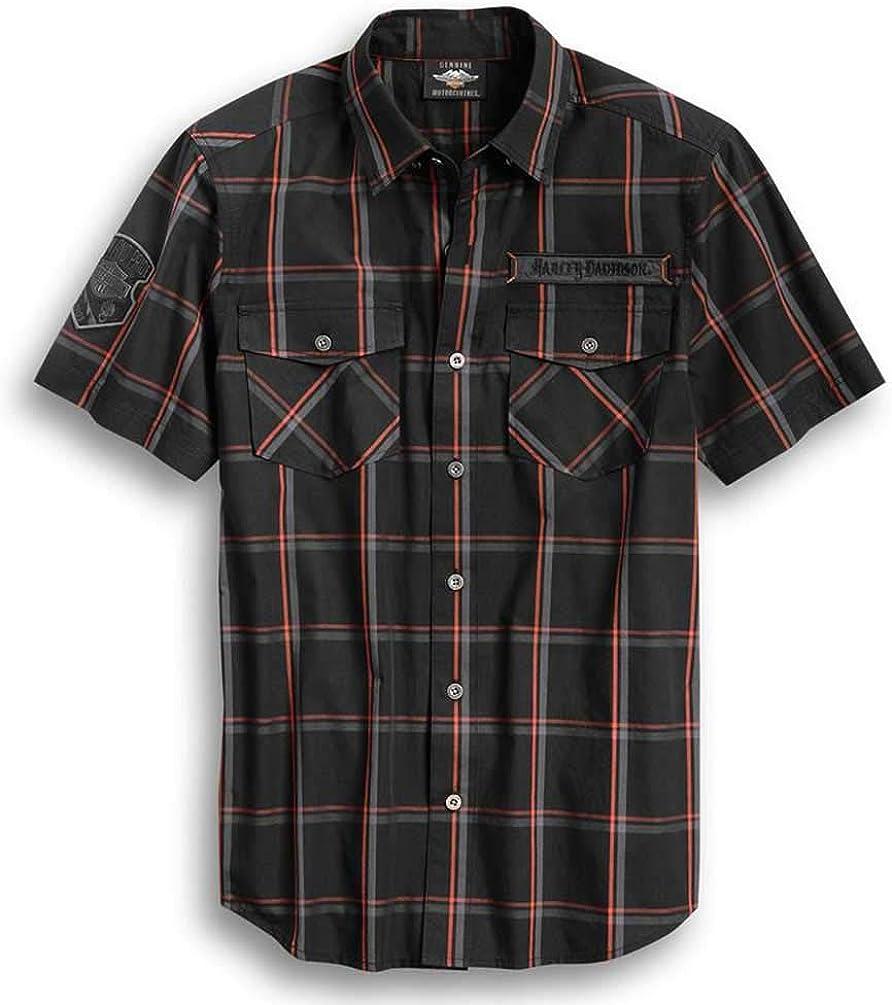 Harley-Davidson バーゲンセール Men's 数量は多 Iron Pride Plaid Bla Sleeve Shirt Short