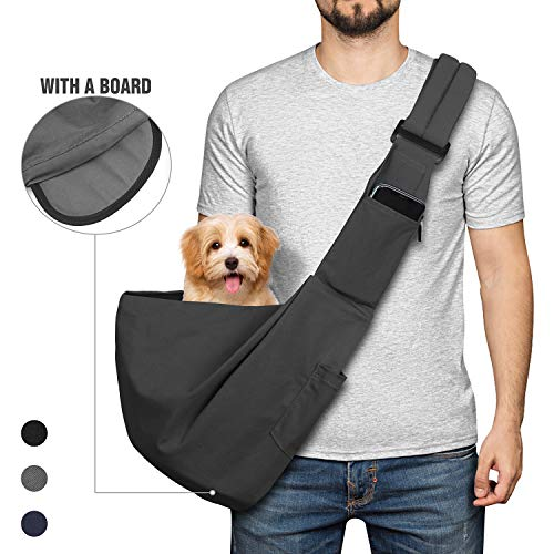 YUDODO Pet Dog Sling Carrier Bag Adjustable Padded Strap Dog Purse Tote Hand Free Safe Mesh Pet Carrier for Small Medium Dog Cat (Grey with Board)