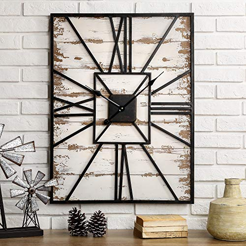Glitzhome Distressed Wall Clock Antique Silent Non Ticking Wooden Farmhouse Wall Clock Distressed Oversized Clock with Roman Numeral Vintage Wall Decor for Living Room Bedroom Office, 31.5 Inch