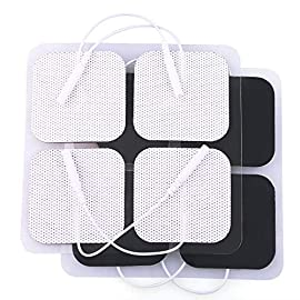 """TENS Electrode Pads, 20PCS, 2""""x2"""", TENS Unit Replacement Pads for Electrotherapy, EMS Muscle Stimulation Machine, Reusable 12 Universal Compatibility; Universal Pigtail of electrode pads fits most TENS (Transcutaneous electrical nerve stimulation) units; EMS (Emergency Medical Services) massagers and muscle stimulators TENS pads are comfortable to the touch; white foam backing with black carbon conductor and premium gel adhesive Reusable tens electrodes; designed for multiple uses when applied and removed with care; excellent conductivity"""