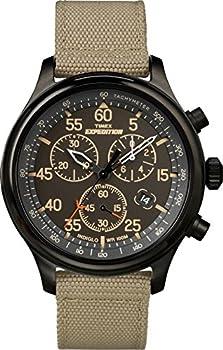 Timex Men s Expedition Field Chrono Quartz Analog Watch with Fabric Strap Beige 20  Model  TW4B10200