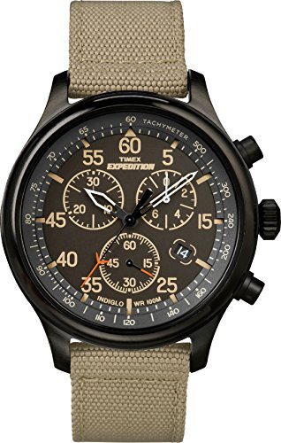 Timex Men's TW4B10200 Expedition Field Chronograph Tan/Black Nylon Strap Watch