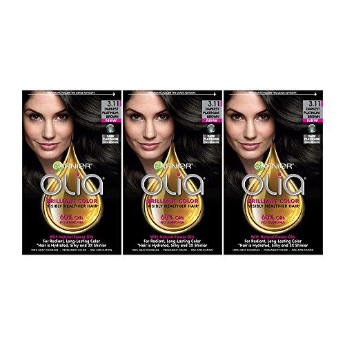 Garnier Olia Hair Color, 3.11 Darkest Platinum Brown, Ammonia Free Hair Dye, 3 Count (Packaging May Vary)