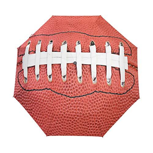 Hunihuni American Football Automatischer Regenschirm, faltbar, Winddicht, wasserdicht, UV-Schutz, Sonnenschutz