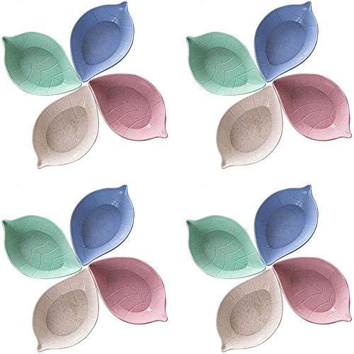 12 piezas Juego de tazones de inmersiónPlato de salsa con forma de hojaPlatos de salsa de soja de paja de trigo Mini plato de vajilla Condimento
