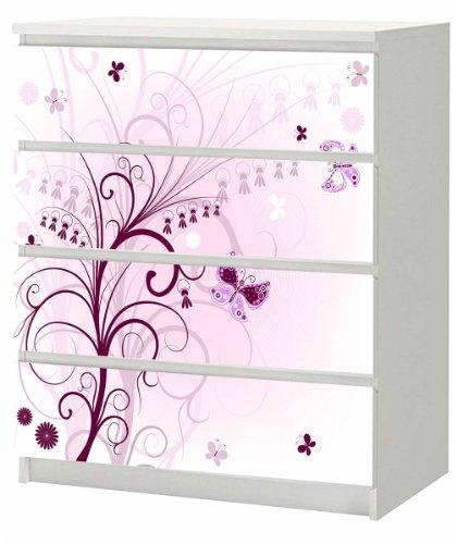 Aufkleber für IKEA Malm Kommode 4 Schubladen 80 x 100cm lila Blume mit Schmetterling Möbelsticker
