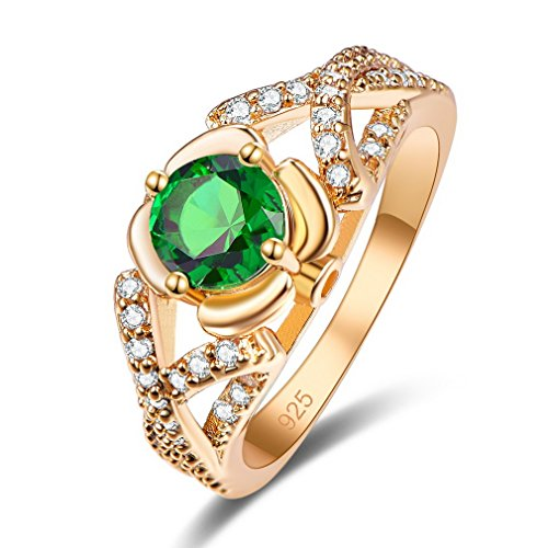 YAZILIND Anillo Redondo Cúbico Circonita Verde Diamante de Imitación Chapado En Oro Promesa Joyería de Compromiso para Las Mujeres Tamaño 16.5