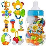 Il giocattolo è fatto di plastica ABS di materiale ambientale non tossico. Adatto al neonato di 3 mesi! Il giocattolo del sonaglio del bambino ha una bottiglia dell'alimentatore con 9pcs che afferrano la mano il massaggiagengive può attirare l'attenz...